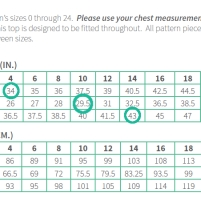 Sewing Pattern Size Chart